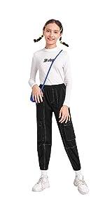 Romwe Girl's Elastic Waist Stitch Trim Flap Pocket Jogger Cargo Pants