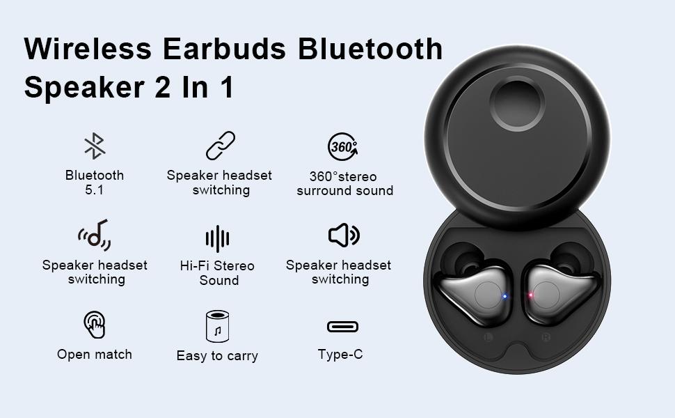 Wireless Earbuds Bluetooth Speaker 2 In 1