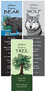 bear, wolf, and tree bookmarks