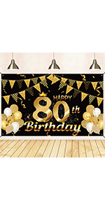 80th birthday decorations for men black and gold 80th birthday banner