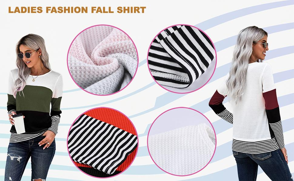 womens long sleeve T Shirt Striped Crewneck
