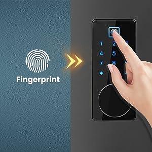 smart fingerprint door lock with touchscreen keypad
