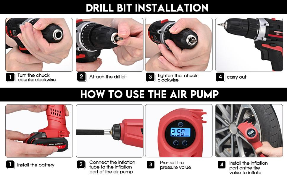 Instructions for Using Cordless Drill and Tire Inflator Combo Kit