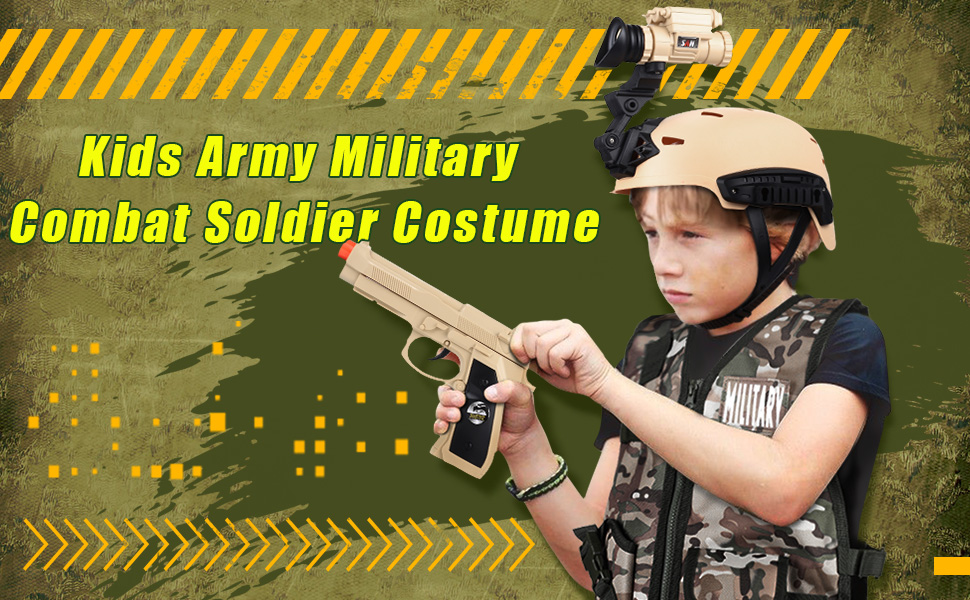 Military Soldier Costume Army Costume Kids Military Soldier Camouflage Desert War Costum