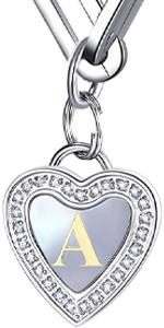 Heart initial paperclip chain necklace