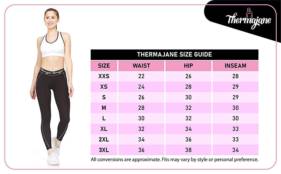 Thermajane compression leggings size chart