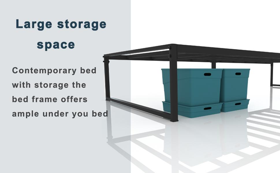 Contemporary bed with storage the bed frame offers ample under you bed easy to assemble