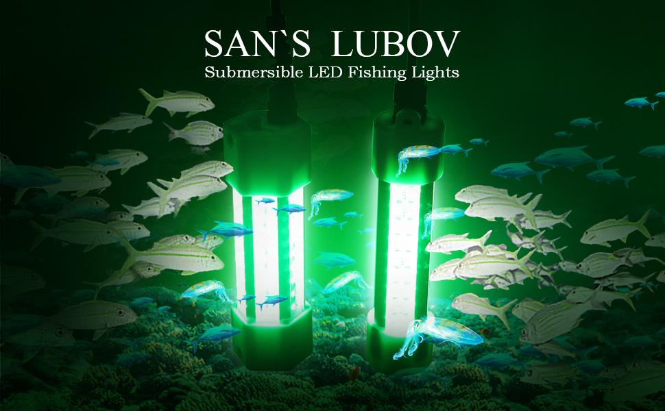 SAN`S LUBOV Submersible LED Fishing Lights green fishing lamp 12v waterproof