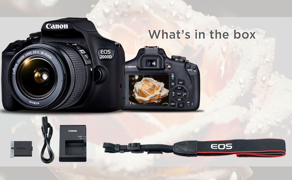 Canon EOS 2000D, Battery, Charger, Cable, Camera Strap