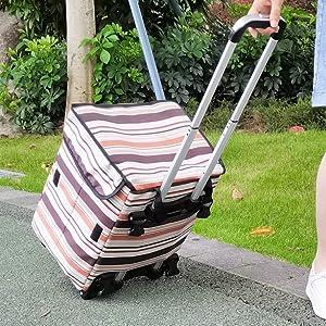 Fineget Foldable Shopping Grocery Cart Bag Wheels Rolling Trolley Tote Senior Beach Picnic Duffel