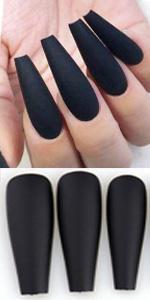 black false nails matte coffin press on nails extra long straight c cuve acrylic nail tips stiletto