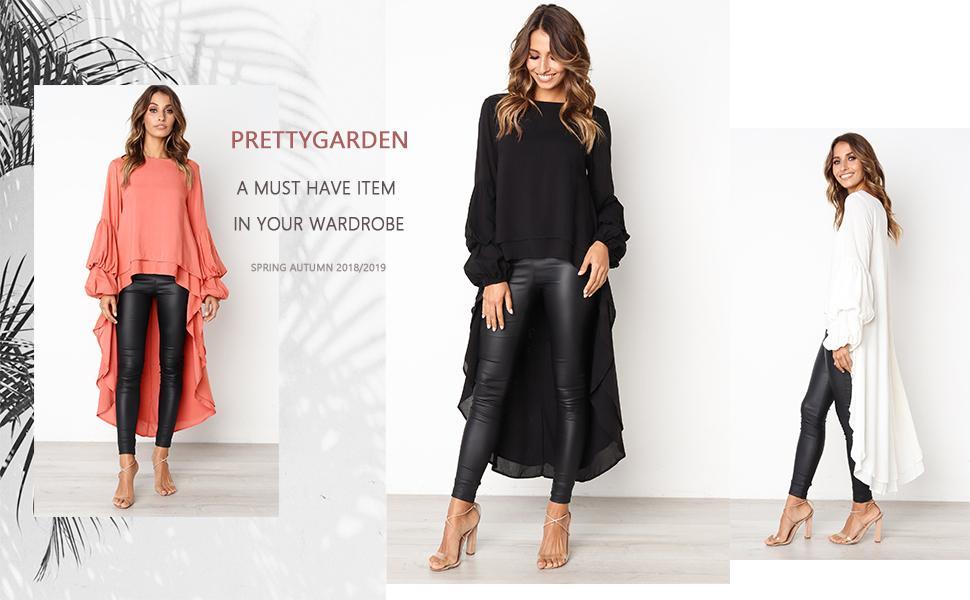 High Low Asymmetrical Irregular Hem Tops Blouse Shirt Dress