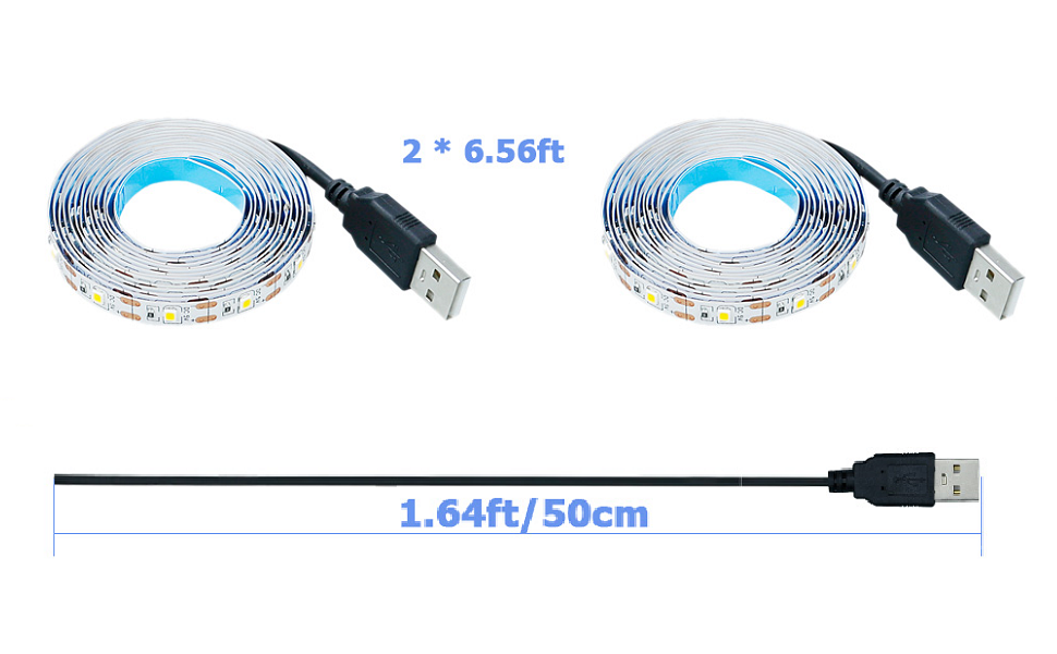 The length of the light strip is 6.56 feet, and the length of the USB power cord is 1.64 feet