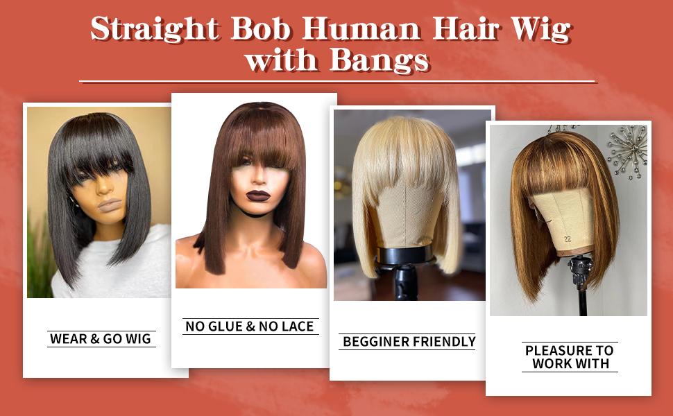 Straight Bob Human Hair Wig with Bangs