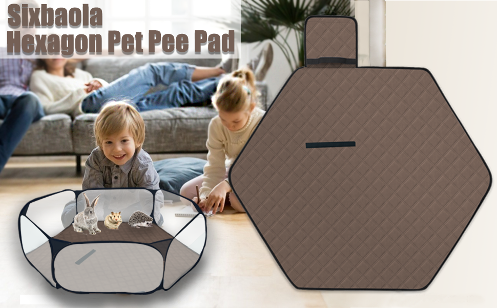 Hexagon Washable Pee Pad for Portable Small Animal Playpen