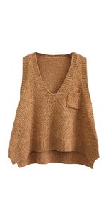 Women A-Line Loose Knitted Vest