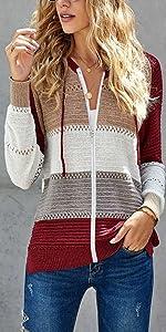 NEYOUQE Womens Long Sleeve Color Block Cardigan Sweaters Tops Casual Hoodies Sweatshirts Jackets