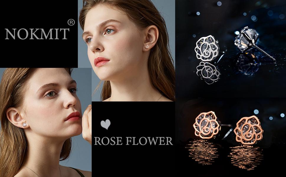 rose flower stud earrings