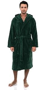 TowelSelections Mens Robe, Plush Fleece Hooded Spa Bathrobe
