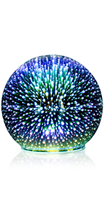 3D Glass Fireworks LED Night Light,Lamp Crystal Ball Decoration,Glass Colorful LED Light Bulb
