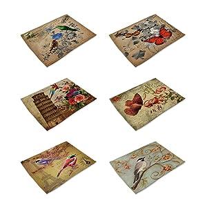 HACASO Set of 6 Vintage Style Paris Pattern Placemats