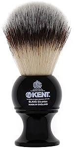 KENT BLK4S Silvertext Synthetic Shaving Brush