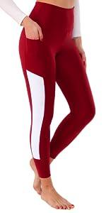 Red White Leggings for Women