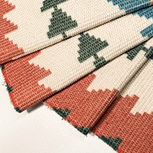 Boho Cotton Woven-Tassel Area Rug - Colorful Geometric Waves Printed Throw Runner Rug