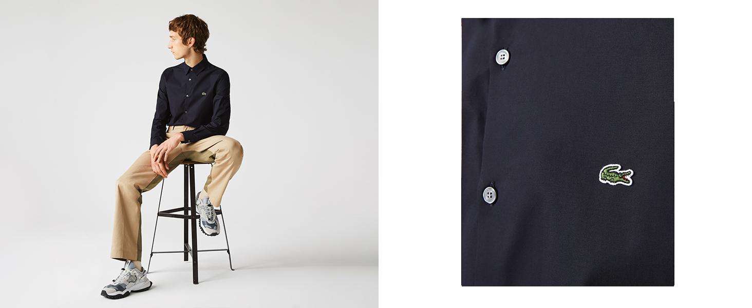 Men's Lacoste shirt in heavy navy cotton