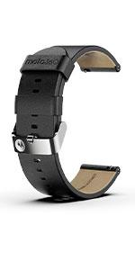 Black Leather Band with Steel Gray Buckle