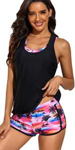 yonique 3 piece tankini swimsuits racerback black sports bra with shorts
