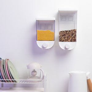 Plastic Wall-mounted transparent Cereal Container laundry beads Dispenser