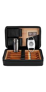 cigar case cedar wood cigar humidor with lighter cutter