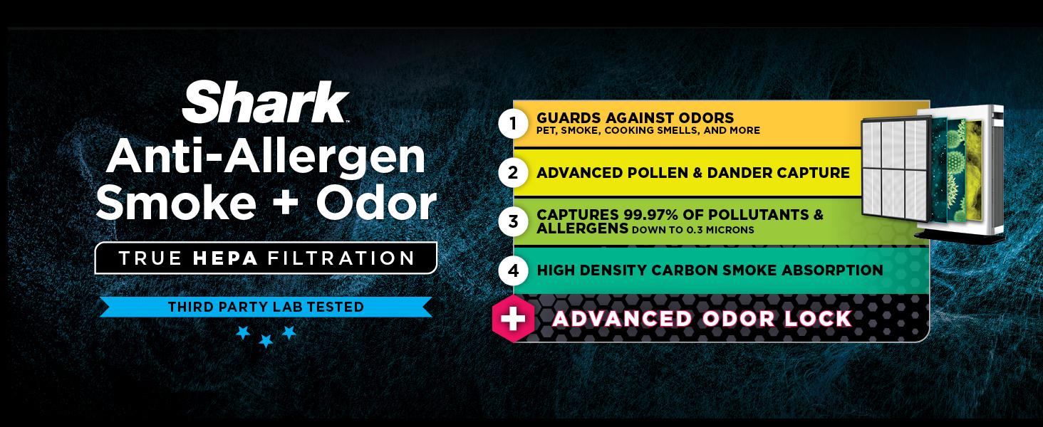 anti allergen smoke and odor with true hepa