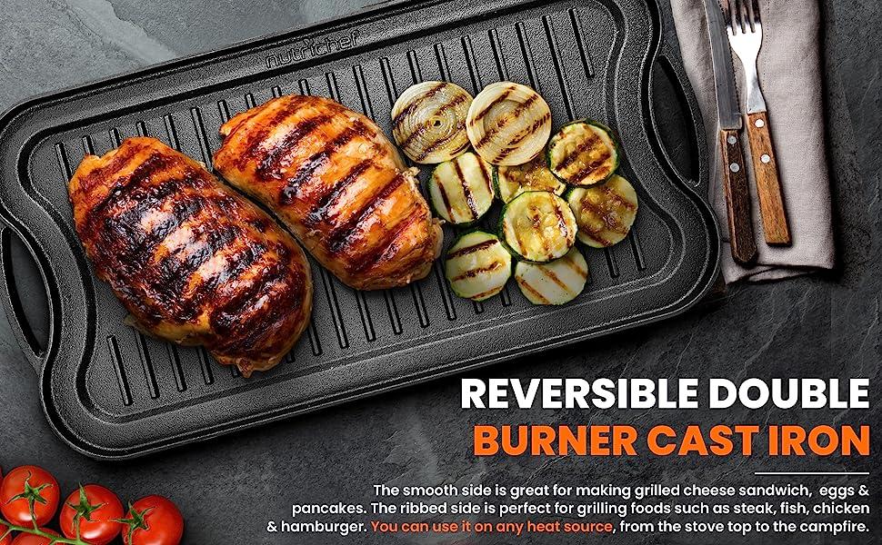 Grilling Pan;Flat Cast Iron;Skillet Griddle;Reversible Plate