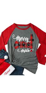 Merry Christmas Raglan Sleeve Shirt