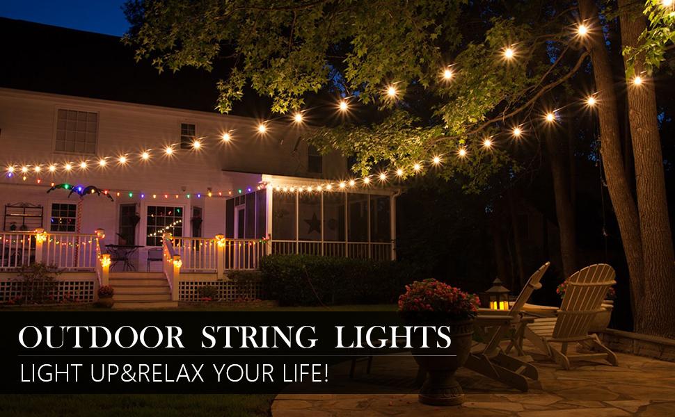 outdoor globe string lights 50 ft
