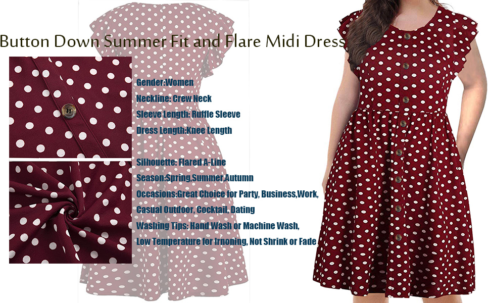 Women's Summer Plus Size Ruffle Sleeve O-Neck Button Down Casual A-Line Swing Dress with Pockets