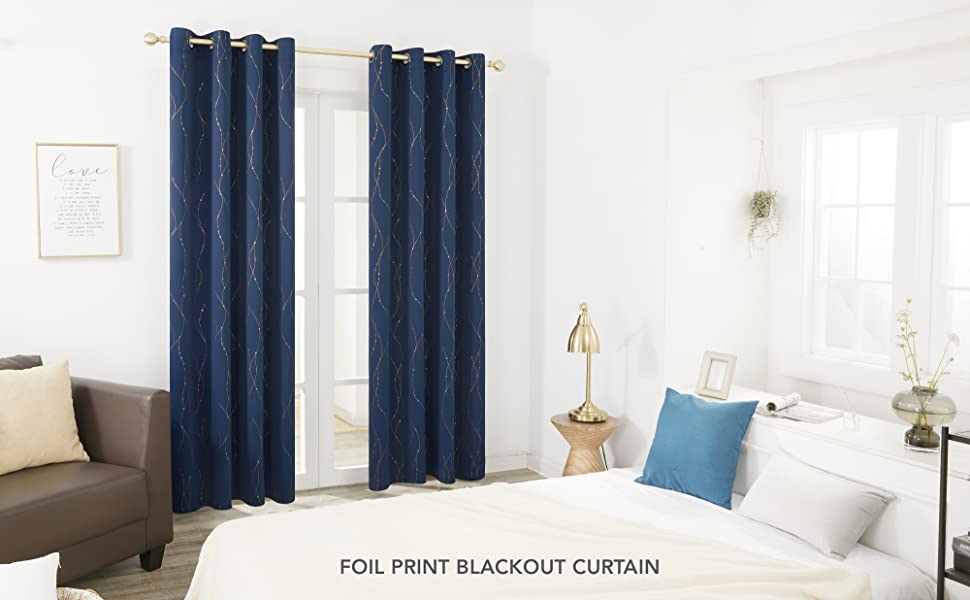 Deconovo Gold Foil Printed Bedroom Curtains and Drapes Blackout for Living room