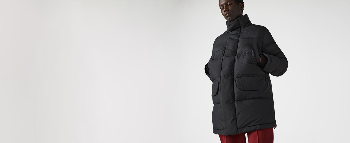 Lacoste black three-quarter hooded puffer jacket for men