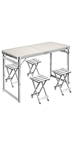 4 FT Aluminum Portable 3 Adjustable Height Folding Picnic Table