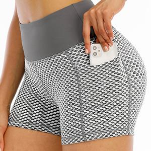 Yoga butt lifting shorts with pockets running shorts workout shorts with pockets