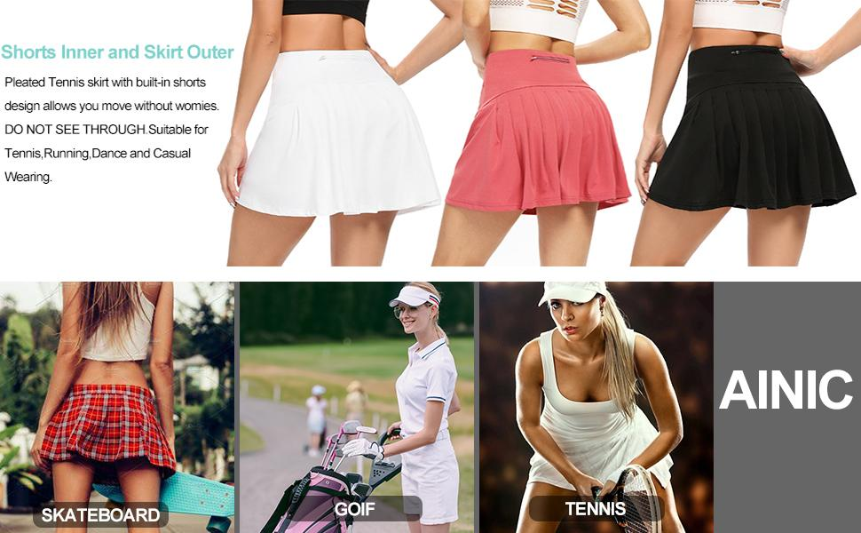 Pleated Tennis Skirts with pockets shorts