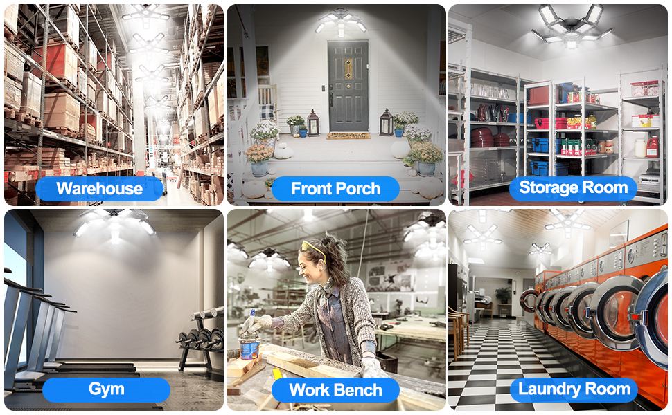 More application, such as warehouse, front porch, storage room, gym, work bench,laundry room,etc.