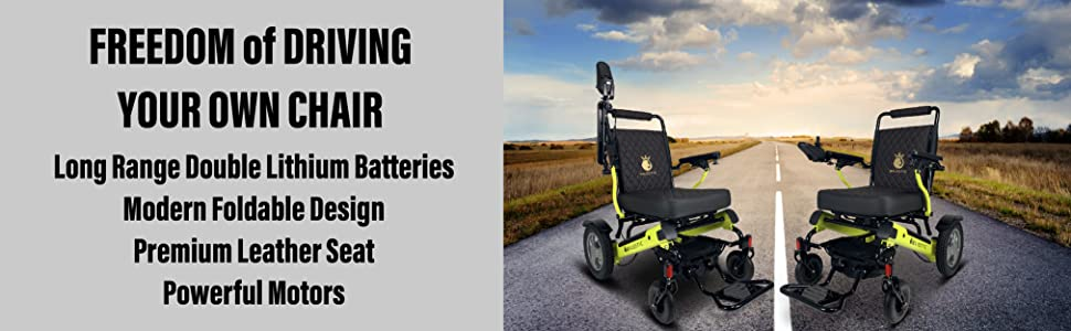 Electric Wheelchair for Adults, All Terrain Lightweight Foldable Wheelchairs