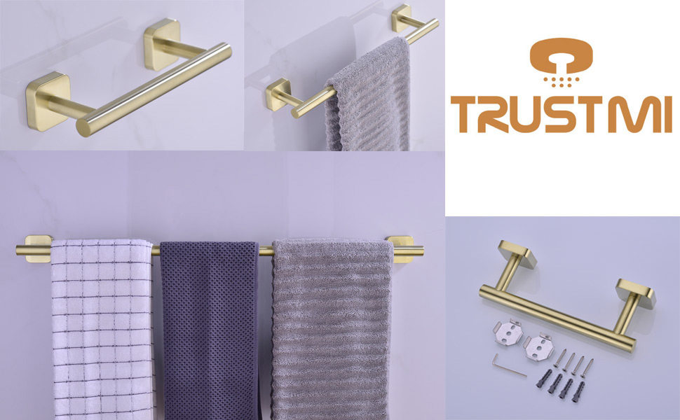 trustmi single towel bar in brushed gold