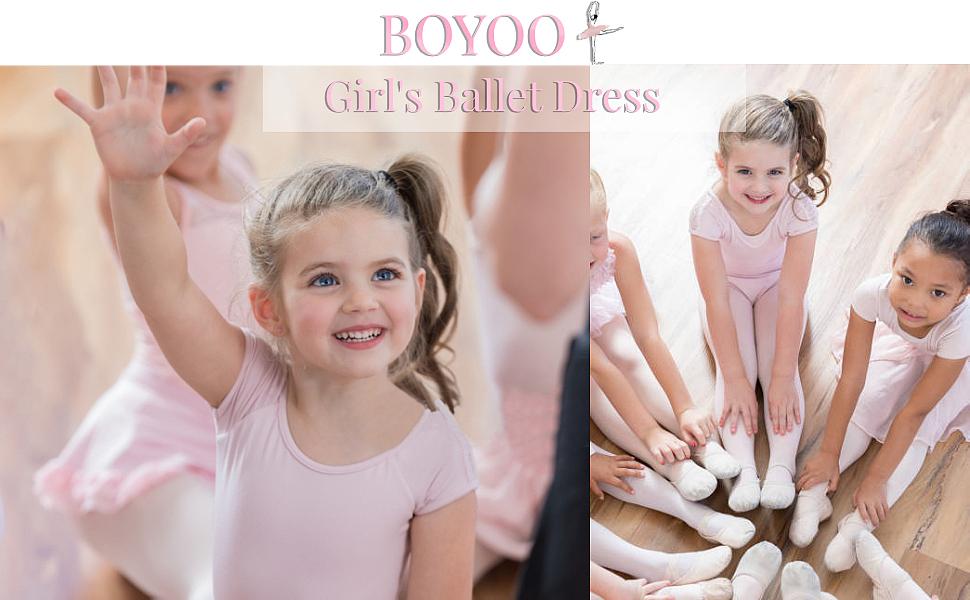 Boyoo Girl Ballet Dance Dress Short Sleeve Classic Ballet Tutu Skirt Leotard for 3-11 Years