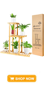 LEEPES Plants Stand Bamboo Shelf 3 Tier 6 Potted Flower Rack Multiple Planter Pots Holder