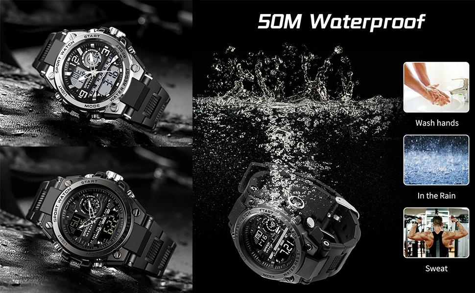 Koodea Men's Watches Waterproof Military Wristwatch Stopwatch Quartz Sport Watch 6024