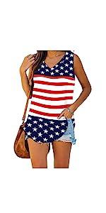 Womens Tank Tops American Flag Sleeveless Patriotic Tank Tops Summer Tops